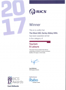 ctd architects award winners RICS EM 2017 Leisure and Tourism Certificate