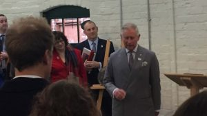 ctd architects' Chris Hesketh and project architect Joanna Lawton meet HRH The Prince of Wales at the official opening of 'The Prince of Wales Studios' at Middleport Pottery