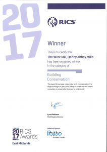 ctd architects award winners RICS EM 2017 Building Conservation certificate
