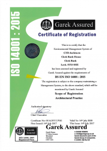 ctd architects ISO 14001:2015 certification